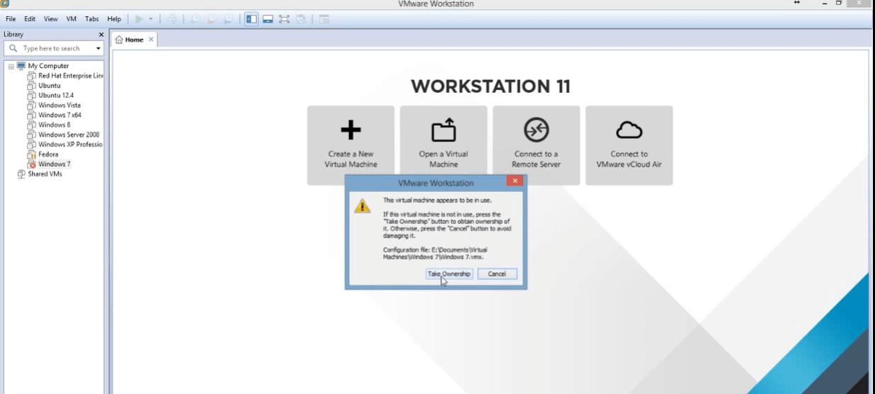 قفل شدن سیستم عامل در Vmware 1